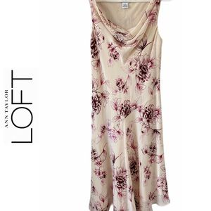 Ann Taylor LOFT Cream Pink Floral Silk Slip Dress